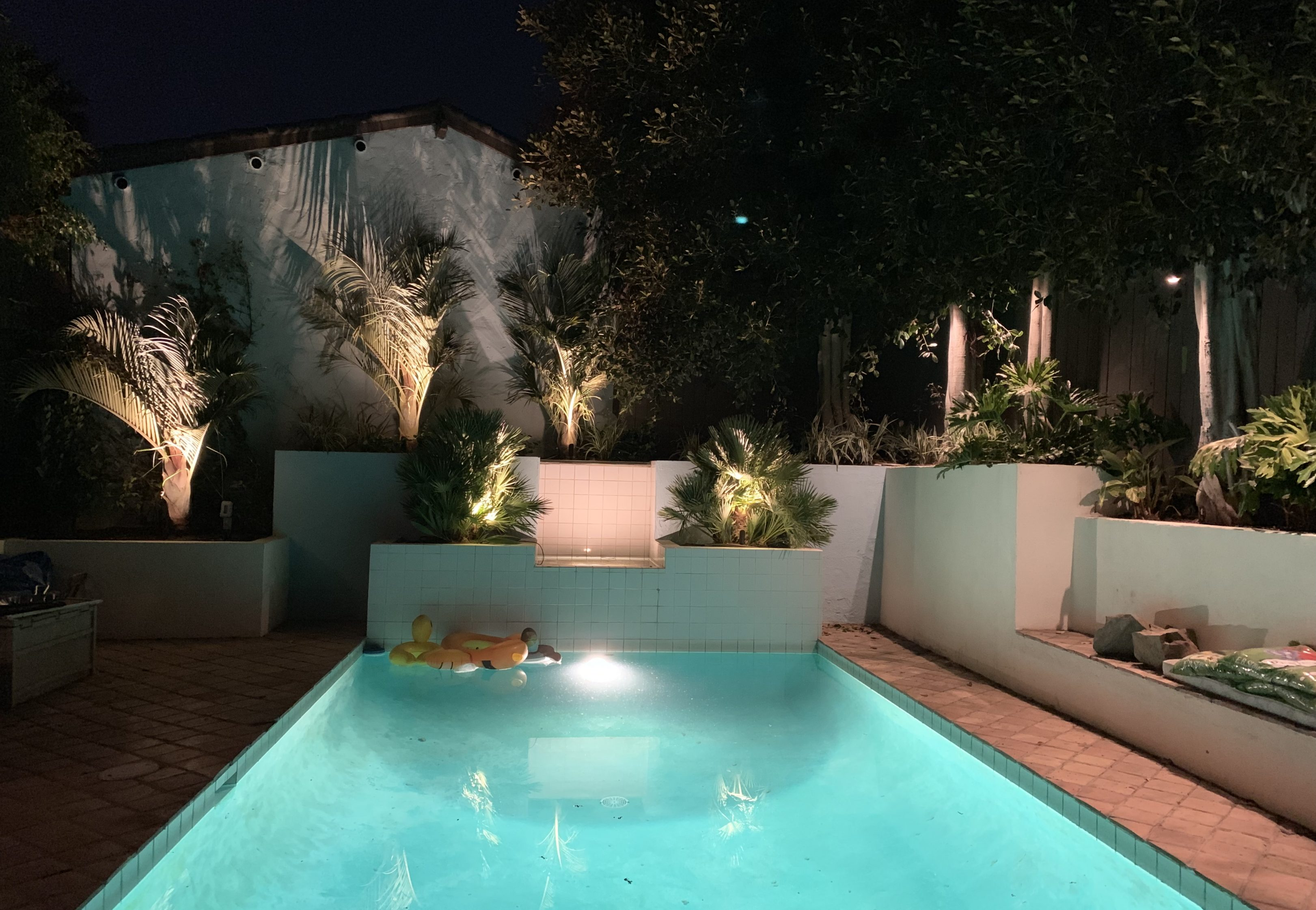 Pool and Fountain at Night